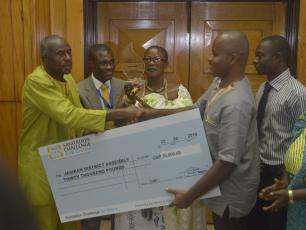 Jasikan District, Ghana receiving the Sanitation Challenge prize