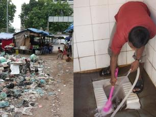 Two sides of sanitation: rubbish and cleanliness. Cambodia/India