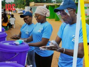 : Djelika Guire, Madina Rouamba, and campaign ambassador Salif Sanfo, Ouagadougou,  Burkina Faso.
