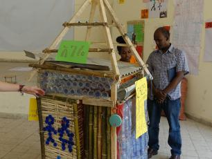 Latrine superstructure made of plastic bottles