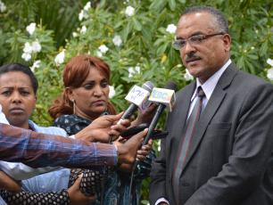 Ethiopian State Minister for Water and Irrigation, Kebede Gerba, speaks to journalists at the Water Integrity Forum
