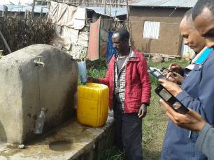 Collecting baseline WASH data at standpipe with mobile phones