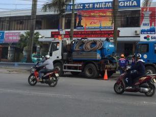 Faecal sludget tanker in Hai Phong City, Vietnam