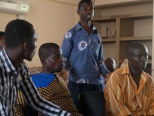 Ebenezer Kwarteng, Ghana, speaking at Kintampo South District Learning Alliance meeting