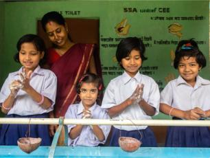 Group handwashing Assam. Unicef