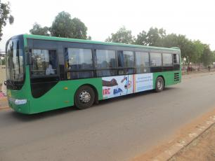 Bus in Burkina Faso with IRC election banner on it