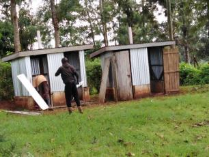 A set of toilets under renovation at one of the rural health facilities in Nyeri County