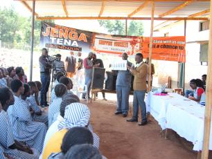 A menstrual hygiene management (MHM) session at Kitale Main Women's prison.