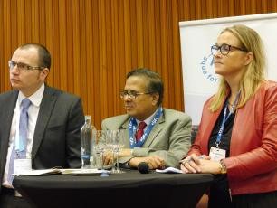 Radu Ban (Bill and Melinda Gates Foundation), Babar Kabir (BRAC) and Bernadette Blom (Goodwell Investments), panelists at the w
