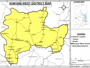 Map of Sunyani in Ghana