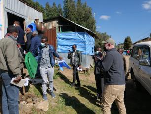 The team visiting sanitation market centers
