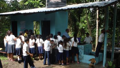 Handwashing at school in Honduras