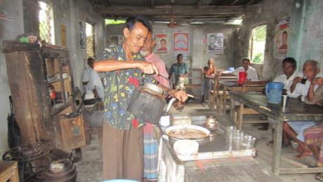 serving tea at a tea stall