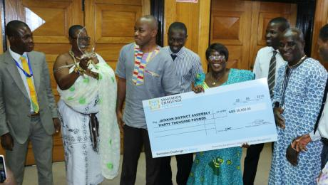 Jasikan District wins Duapa Award plaque and monetary prize (Queen mother, then DCE & officials from the district)