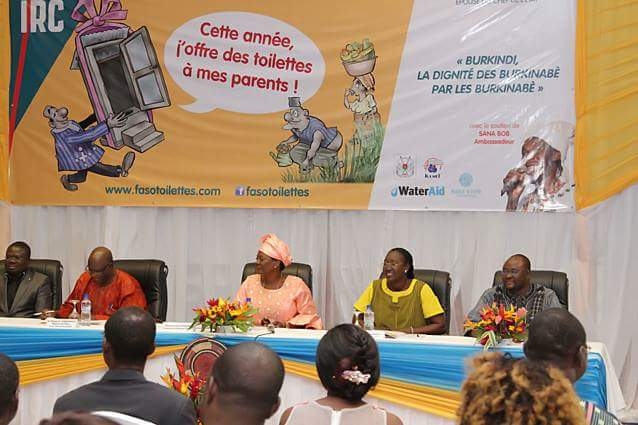 The first lady of Burkina Faso during the official opening of the Fasotoilettes campaign 2017