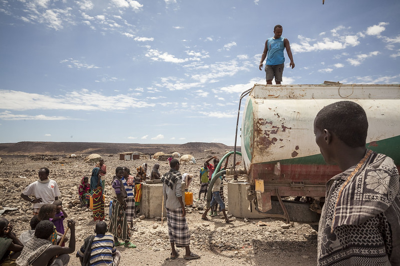 People getting water from tanker in Afar, Ethiopia