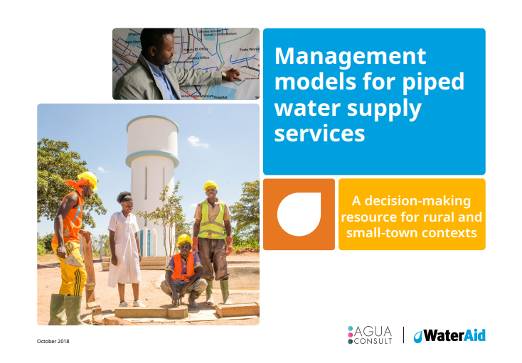 Management models for piped water supply services - cover. Photo: WaterAid