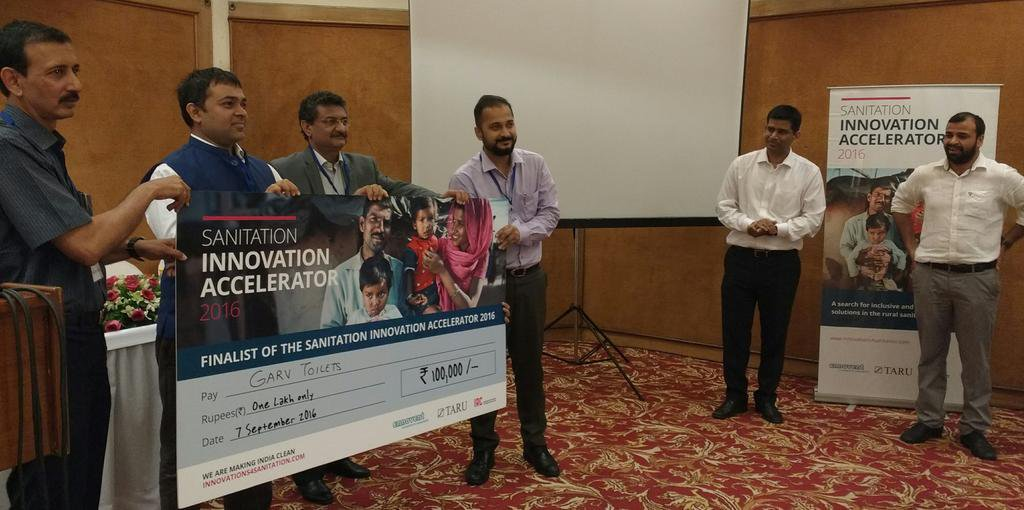 Mayank Midha (4th from left) receives Sanitation Innovation Accelerator award
